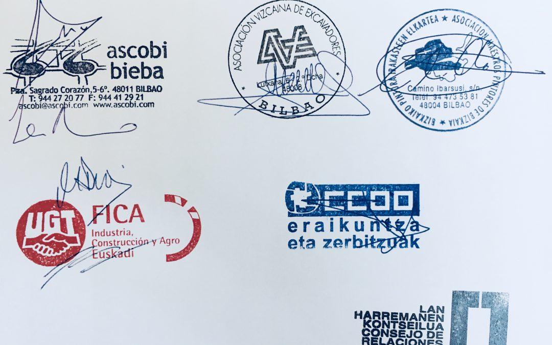 Firmado Convenio de la Construcción de Bizkaia 2017-2020